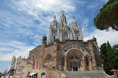 Sacred Heart Of Jesus Temple On Tibidabo Mountain, Barcelona, Spain.