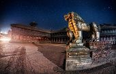 pic of nepali  - Stone lions near Durbar square at night star sky in Bhaktapur Kathmandu valley Nepal