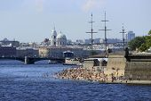 City beach in the center of St.Petersburg, Russia