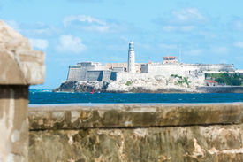 stock photo of malecon  - The famous castle of El Morro in Havana with the Malecon seawall in the foreground - JPG
