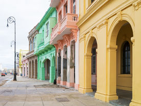 picture of malecon  - Colorful buildings along the Malecon avenue in Havana - JPG
