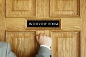picture of medical  - Businessman knocking on interview room door concept for recruitment or medical checkup with a consultant - JPG