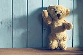 pic of teddy  - the teddy bear stands in front of a blue wall - JPG