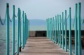 stock photo of pier a lake  - Safety fence of a lake pier - JPG