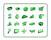 Ícone verde Set - com traçados de recorte
