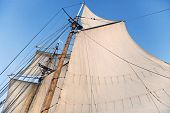 stock photo of tall ship  - Mast of a tall ship with half - JPG