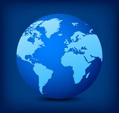 image of continent  - Blue globe icon with light blue continents on dark blue background - JPG