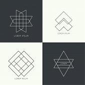 pic of monogram  - Set of vector hipster logo - JPG