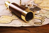 picture of marines  - Marine still life with world map and spyglass on wooden table background - JPG