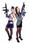 picture of assault-rifle  - Two women in the marine and the military uniforms with the assault rifles isolated over white background - JPG
