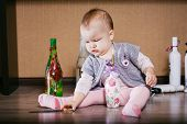 foto of decoupage  - Child sitting playing bottle - JPG