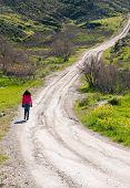 image of dirt road  - Teenage girl walking in an empty country dirt road in Cyprus - JPG