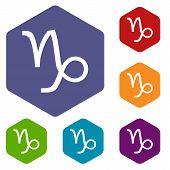 stock photo of capricorn  - Capricorn rhombus icons set in different colors - JPG