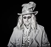 stock photo of mad hatter  - Man dressed in halloween costume dressed as a ghost - JPG