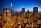 stock photo of empire state building  - New York nighttime skyline and Empire State Building - JPG