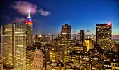 image of empire state building  - New York nighttime skyline and Empire State Building  - JPG