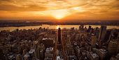 image of empire state building  - Vivid sunset over New York taken from the Empire State Building  - JPG