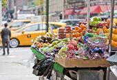 picture of stall  - Fresh fruit stall on the streets of New York - JPG