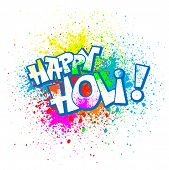 stock photo of indian culture  - Colorful festive Holi splash abstract background with Holi lettering - JPG