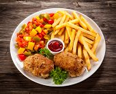 stock photo of french fries  - Fried chops - JPG