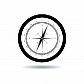 foto of longitude  - compass black vector art illustration on white - JPG
