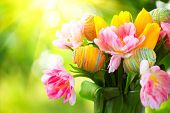 foto of floral bouquet  - Easter Holiday flowers bunch with colourful eggs  - JPG