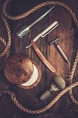 stock photo of shaving  - Shaving accessories on a luxury wooden background  - JPG