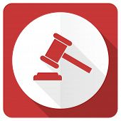 picture of court hammer  - auction red flat icon court sign verdict symbol  - JPG