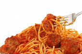 image of meatball  - Closeup of a fork with spaghetti and meatballs in tomato sauce - JPG