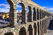 stock photo of aqueduct  - landmarks of Spain  - JPG