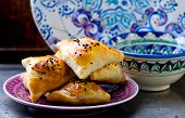 stock photo of samosa  - samosa on a plate - JPG