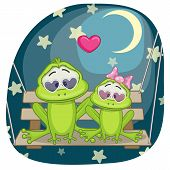 stock photo of baby frog  - Valentine card with Lovers Frogs on a swing - JPG