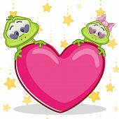 pic of baby frog  - Valentine card with Lovers Frogs on a stars background - JPG