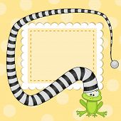 stock photo of pet frog  - Greeting card with frog in striped hat - JPG