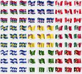 Постер, плакат: Gambia Cape Verde Canada Sweden Niue Mexico Honduras Pakistan East Timor Big Set Of 81 Flag
