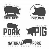 Set of pork emblems, logotypes and labels isolated black on white background poster