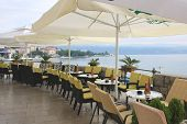 Summer cafe on the coast of the Adriatic sea, Croatia, Opatija