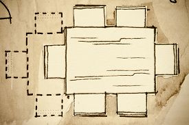 foto of stool  - Freehand watercolor and ink floor plan illustration fragment of a wooden dining room standard table furniture element with six chairs and an enlargement option of having additional couple of stools - JPG