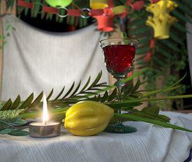 image of sukkot  - Symbols of the Jewish holiday Sukkot with candle and wine glass - JPG