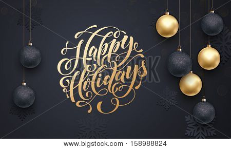 Premium luxury Christmas background for holiday greeting card. Golden decoration ornament with Chris