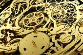Gold mechanism, clockwork with working gears. Close-up, detailed. 3D rendering poster