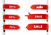 Set of red sale labels.