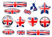 England, United Kingdom flag buttons great collection, high quality vector illustration