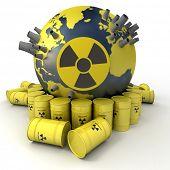 Renderização 3D da terra com centrais nucleares rodeado por barris de resíduos nucleares
