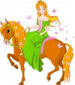 Ilustración de primavera de la hermosa princesa de montar a caballo