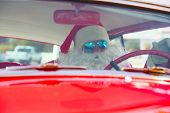 Santa Claus drives his Hot Rod Car. Santa Drives his car. Santa Claus arrives in style. Santa Cruise poster