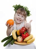 stock photo of fruits vegetables  - Vegetables and fruit it are a healthy food of children - JPG