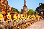 Buddha statues at the temple of Wat Yai Chai Mongkol in Ayutthaya near Bangkok Thailand