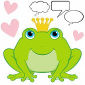 foto of prince charming  - Cute frog prince cartoon character sitting wearing a crown - JPG