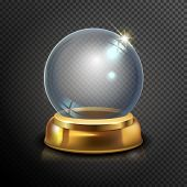 Постер, плакат: Magic Crystal Ball Of Glass And Gold Empty Snow Globe White Transparent Glass Sphere On A Stand